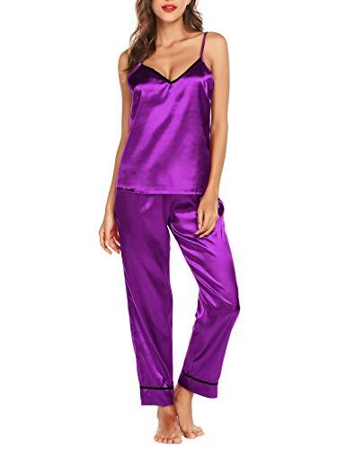 Romanstii Silk Satin Pajamas Sleepwear Set Camisole Long Sets Nightwear PJ Set - Women Set Camisole Solid