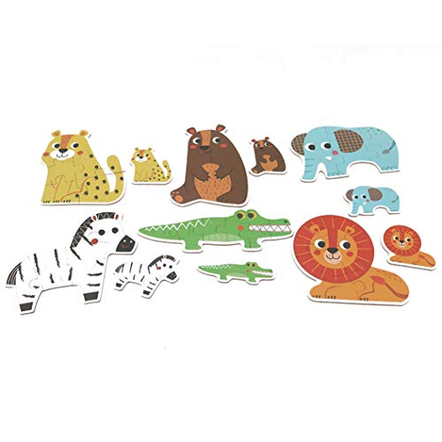 LZIYAN Floor Puzzle Cute Cartoon Animal Wooden Puzzle Brain Teaser Intelligence Educational Toys Gift For Children,Forest animals ()