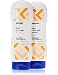 Amazon Brand - Solimo Sport Sunscreen Lotion SPF 30, 10.4 Fluid Ounce (Pack of 2)