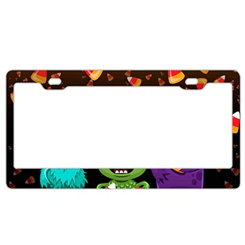 YEX Abstract Halloween Happy Time License Plate Frame Novelty Car Tag Frame Auto License Plate Holder 12
