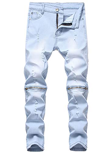 Boy's Light Blue Ripped Distressed Skinny Fit Knee Zipper Stretch Slim Denim Jeans Pants (Best Looking Ripped Jeans)