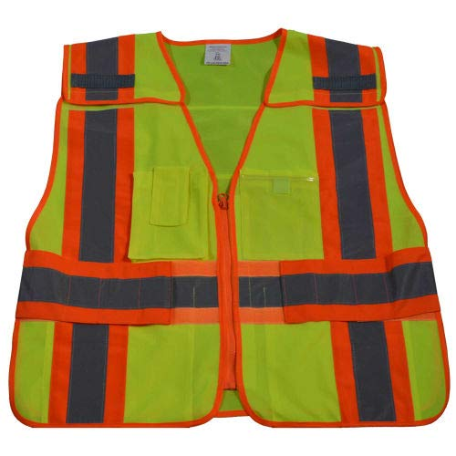 Safety Two Vest Expandable Tone - Petra Roc Two Tone Expandable 5-Point Breakaway Safety Vest, Polyester Solid, Lime/Orange, 6XL-8XL (LV2-PSVP-SUPER)