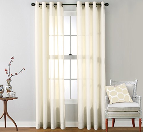 HLC.ME 2 Piece Sheer Window Curtain Grommet Panels (Ivory) - 95