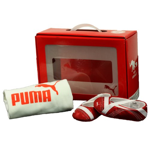 (Puma Crib Pack Red Shoes White T-Shirt Infant Girls Size 1)