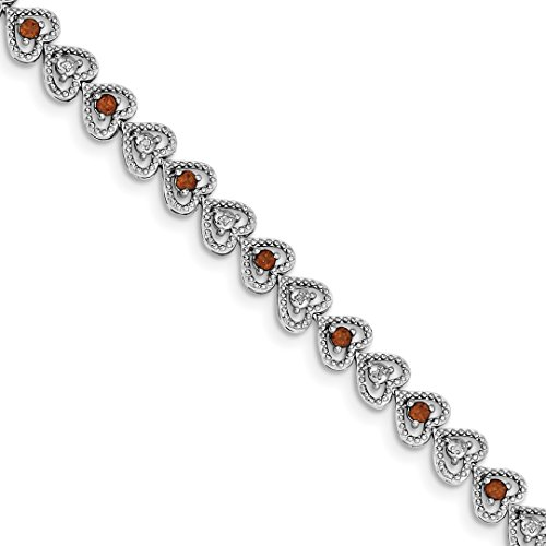 (925 Sterling Silver Red Garnet Diamond Bracelet 7 Inch/love Gemstone Fine Jewelry For Women Gift Set)