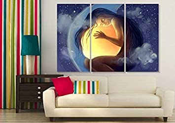 Techbite Wall Painting Split Frames Paintings Home Decor Framed Paintings For Living Room Framed Paintings For Bedroom Wall Art Decor Painting For Home 3 Pieces Paintings Amazon In Home Kitchen