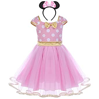 Toddlers Girls' Polka Dots Birthday Princess Leotard Party Cosplay Pageant Fancy Costume Tutu Dress Up Mouse Ears Headband Baby Pink+Gold(B) 18-24 Months