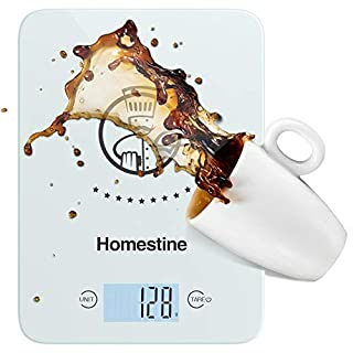 Homestine Electronic Food Scale, 11lb Digital Kitchen Scale Weight Grams and oz for Cooking Baking, 1g/0.1oz Precise Graduation, Lightweight Solid Plastic and Tempered Glass