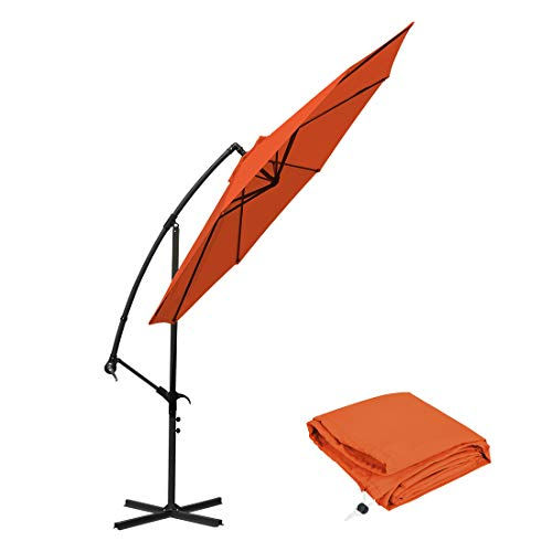 10 Ft Offset Umbrella Cantilever Patio Umbrella Outdoor Market Hanging Umbrellas & Crank With Cross Base And Cover, 8 Ribs (Orange)