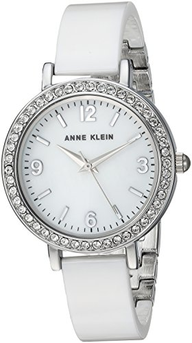 Anne Klein Women's Swarovski Crystal Accented Silver-Tone and White Ceramic Bangle Watch
