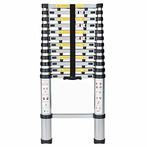 GOOD LIFE 12.5 FT EN131 Professional Folding Aluminum Lightweight Multi Purpose Telescoping Ladder Finger Protection Extension Ladder with Spring Loaded Locking HMI418