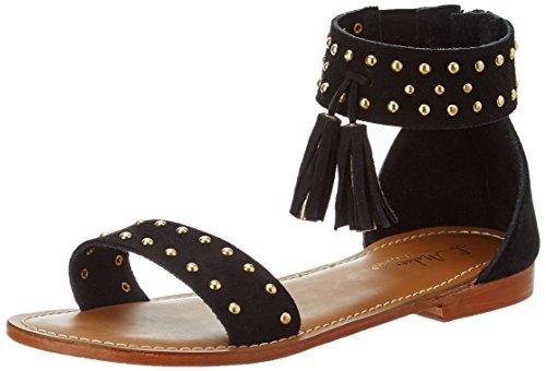 L'ATELIER TROPEZIEN Sandale Clou Pompom - Sandalias de Gladiador Mujer Noir (Black Suede)