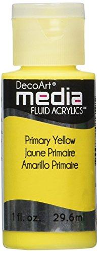 Deco Art Media Fluid Acrylic Paint, 1-Ounce, Primary Yellow