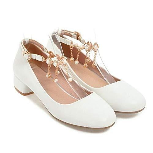 ZHZNVX Zapatos de Mujer PU (Poliuretano) Primavera Bomba básica Tacones Tacón Grueso Blanco/Negro / Rosa White