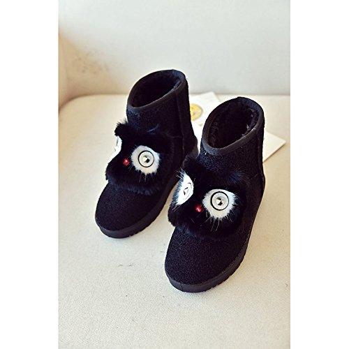 HSXZ Zapatos de mujer Suede Nieve del invierno botas botas talón plano nulo Ronda Toe Botas Mid-Calf Applique de Borgoña Casual Gris negro Black