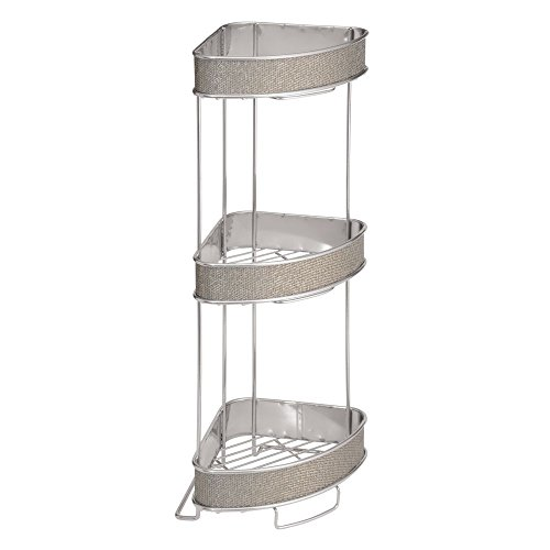 InterDesign Twillo Free Standing Bathroom Corner Storage Shelves for Towels, Soap, Candles, Tissues, Lotion, Accessories - 3 Tier, Metallico Collection Stainless Steel Freestanding Soap