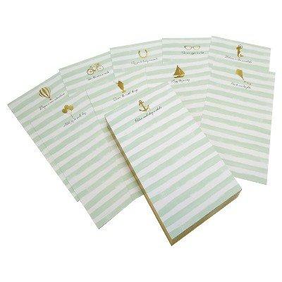 Green Stripe Inspirational Notepad Green