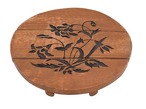 - storeindya Trivet Kitchen Hot Dishes Dining Table Accessories Floral Painted Mango Wood Kitchen Tools Gadgets (Brown) (Design 2)