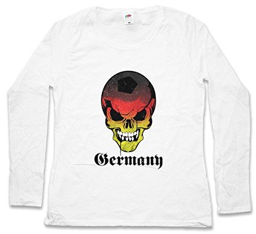 CLASSIC GERMANY GERMAN FOOTBALL SKULLFLAG DAMEN LANGARM T-SHIRT