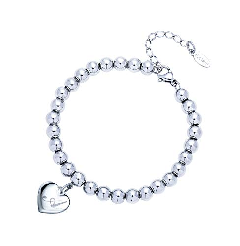 Estendly Initial Heart Charm Bracelets 6mm Stainless Steel Beads 26 Letters Bracelet for Women Birthday Gifts