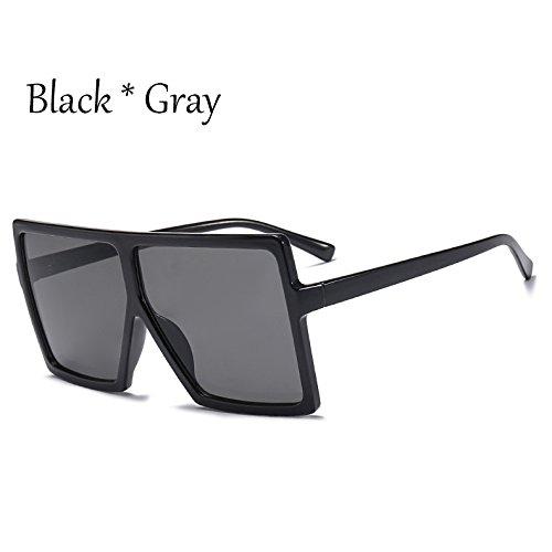 Gray Gafas Bastidor Enormes Protección Mujer TIANLIANG04 Plata Negro C6 Sol C1 Grande Black Square Sol De Gafas Unas De Solar dHxxXqpwC