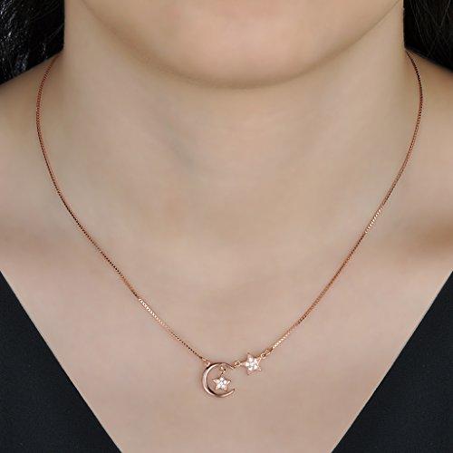 Yumilok pendentif collier en 925 argent et zircon l'étoile la lune élégante pour femme fille couleur d'or rose