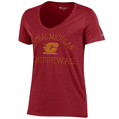 Champion NCAA Central Michigan Chippewas Women's University Short sleeve V-Neck T-Shirt, Large, Cardinal (Central Gear Michigan)