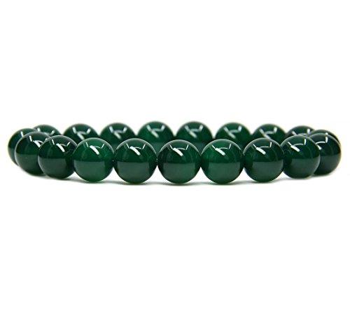 (AA Grade Green Agate Gemstones Healing Power Crystal Elastic Stretch Beaded Bracelet 7