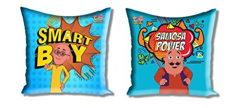 Athom Trendz Motu Patlu 2 Piece Polyester Cushion Cover Set – 16 inch x 16 inch, Multicolour
