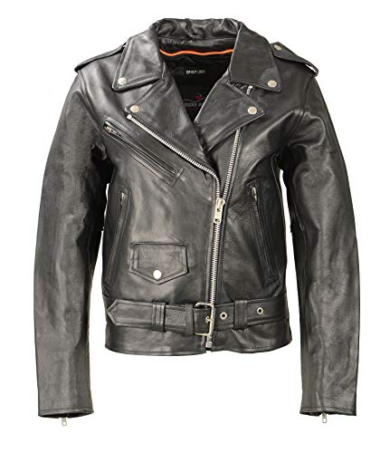 Ladies Premium Motorcycle Jacket - Premium Women Leather Motorcycle Jacket, Highly Comfortable Soft Cowhide Leather, Plain Side Biker Jacket with Safe Pockets and Heavy Duty Zippers (Black, M)