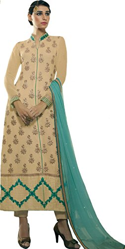 Exotic India Beige and Green Trouser Salwar Kameez Suit with Embroidered Flowers and Crystals Size X-Large (Trouser Kameez)
