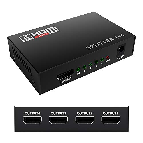Mcscants HDMI Splitter 1 in 4 Out V1.4 Powered 1x4 Ports Box Supports 4K@30Hz Full Ultra HD 1080P and 3D Compatible with PC STB Xbox PS4 Fire Stick Roku Blu-Ray - Ray Blu 1080p Hdtv
