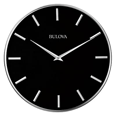 Bulova C4849 Metro Wall Clock, Satin Pewter Finish/Matte Black - Silver-tone raised markers and faceted taper hands Oversize protective convex glass lens Quartz movement - wall-clocks, living-room-decor, living-room - 41I qLeY5LL. SS400  -