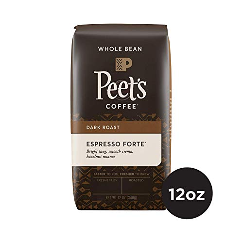 Peet's Coffee Espresso Forte Dark Roast Whole Bean Coffee, 12 Ounce Bag