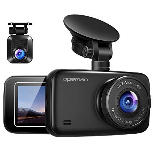 APEMAN 1440P&1080P Dual Dash Cam Full HD Front and Rear Camera for Cars, Driving Recorder with IR Sensor, 150 Degree Wide Angle 6G Lens, G-Sensor, WDR, Night Vision, Loop Recording
