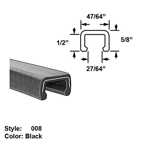 Heavy Duty Rubber C-Channel Push-On Trim, Style 008 - Ht. 5/8'' x Wd. 47/64'' - Black - 10 ft long by Gordon Glass Co.