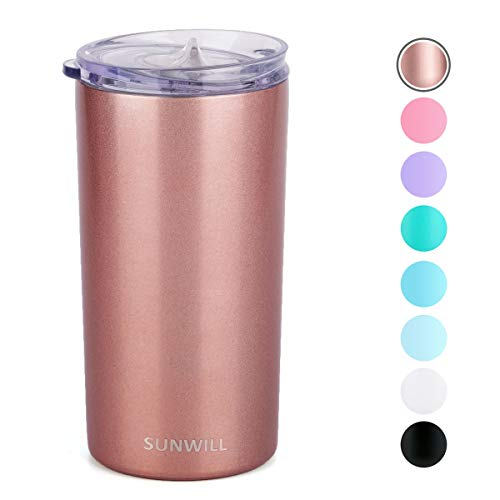 SUNWILL 12oz Tumbler with Lid, Insulated Coffee Travel Mug, Skinny Tumbler Lowball, Double Wall Stainless Steel Coffee Cup for Tea and Beverage, Rose Gold