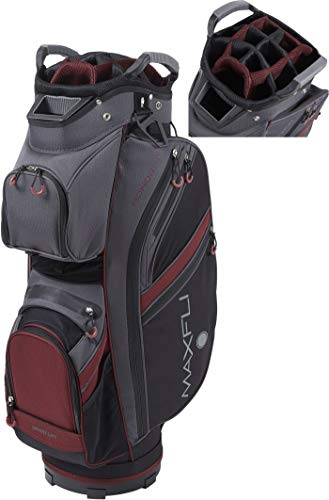 Maxfli 2019 Honors Plus Golf Cart Bag Lightweight 14-Way Top 3 Dividers w/Insulated Pocket (Gray/Burgundy)