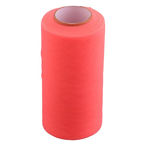uxcell® Lady Polyester Handmade DIY Sewing Dress Tutu Tulle Spool Roll 6 Inch x 25 Yards Coral Pink