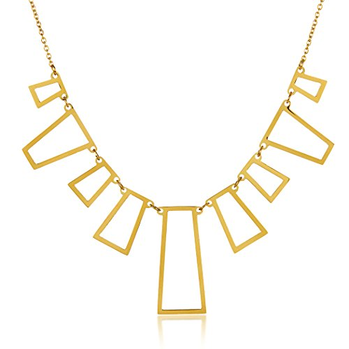 ELYA Jewelry Womens Gold Plated Polished Rectangles Stainless Steel Pendant Necklace, Gold, One Size