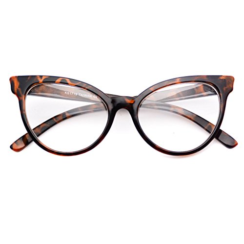 WearMe Pro - Non-Prescription Cat Eye Clear Lens Glasses for Women (Full Tortoise, - Tortoise Frames Eye Cat