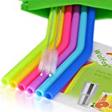 WALFOS Reusable Straws - Regular Size Silicone Drinking Straws for Yeti/Rtic/Ozark Tumblers or Any Kind of Liquids - (6 bent Straws + 2 Cleaning Brushes + 1 Storage Pouch) - Food Grade & BPA Free, Safe for Kids
