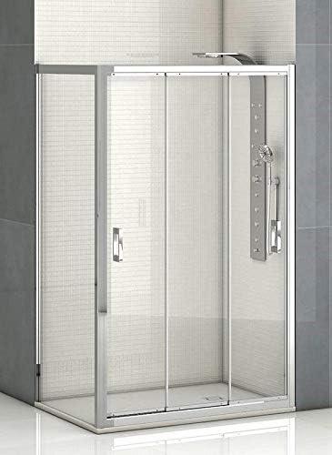 Mampara de ducha frontal 3 hojas correderas con cristal transparente templado de seguridad de 6mm modelo Bricodomo Madrid ANCHO 120CM (medida adaptable 116 a 120cm): Amazon.es: Bricolaje y herramientas