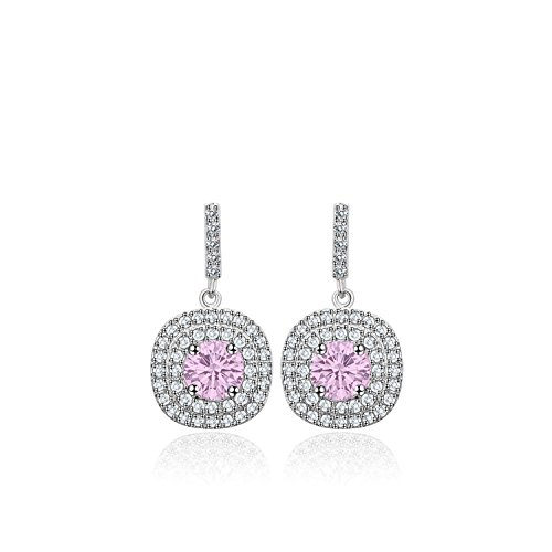 Platinum Plated Cubic Zirconia Pave Setting Halo Drop Earring, Cubic Zirconia Stud Earrings (Platinum-Plated-Pink-Stones)