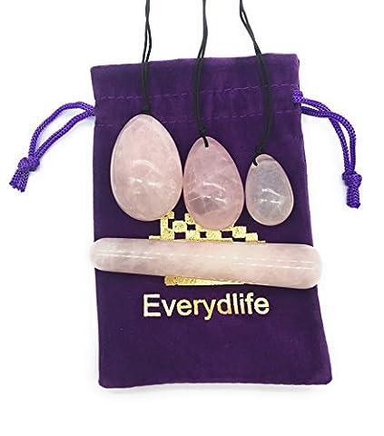 Everydlife Drilled Rose Crystal Quartz Jade Egg for Kegel Exercise , Set of 4 Yoni Eggs Weights and Massage Stick for - Rose Quartz Rope