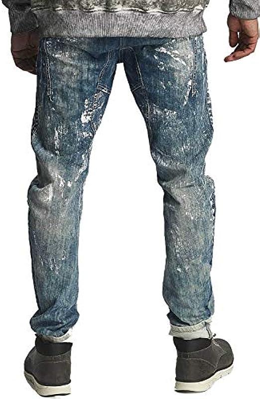Cipo & Baxx męskie nietuzinkowe dżinsy Straight Fit regularne spodnie z kolorem wtryskowym niebieski W34 L34: Odzież