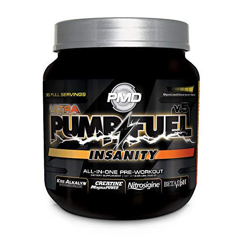 PMD Sports Ultra Pump Fuel Insanity – Pre Workout Drink for Energy, Strength, Endurance, Muscle Pumps and Recovery – Complex Carbohydrates and Amino Energy – Tropical Orange Mango – 30 Servings