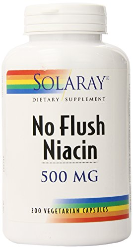 Solaray Niacin No Flush Niacin Capsules, 500 mg, 200 Count