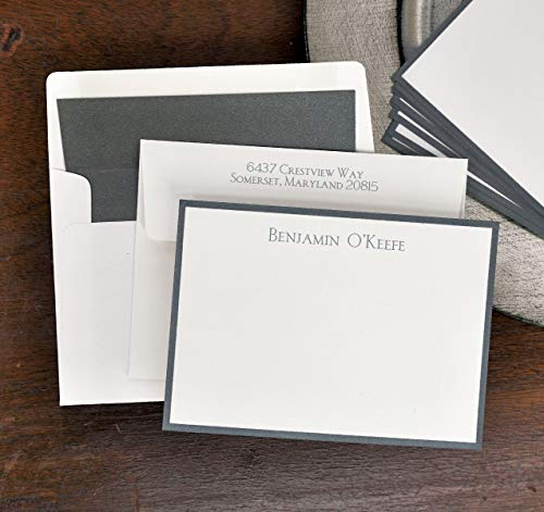 Wide Charcoal Metallic Bordered Correspondence Cards - Set of 25-3963