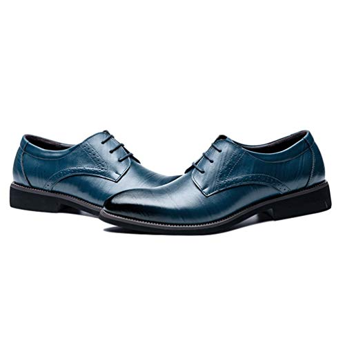 Oxford Formale Uomo Piatto Scarpe Scarpe Abito Blu Uomo Pelle Classico rT0Zw0qYC